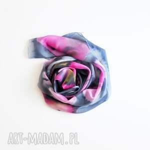 szaliki szal jedwabny malowany - różowe