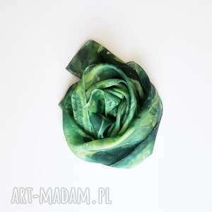 intrygujące szaliki jedwabny-szal jedwabny malowany szal - zielona