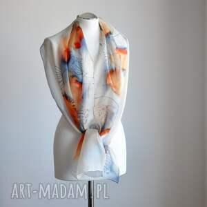szaliki ręcznie-malowany jedwabny malowany szal - niebieski
