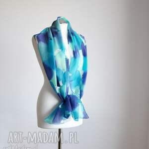 nietypowe szaliki jedwabny-szal jedwabny malowany szal - turkusy