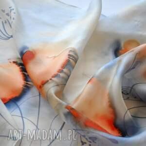 niebieskie szaliki szal jedwabny malowany - niebieski