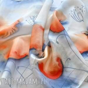 jedwab szaliki pomarańczowe jedwabny malowany szal - niebieski