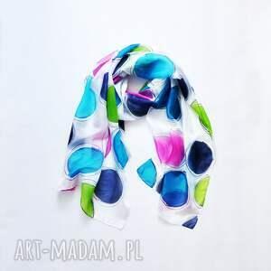 hand made szaliki szal w-kropki jedwabny malowany w kolorowe