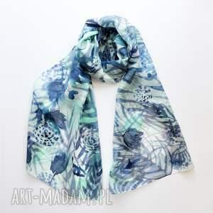 malowany szal szaliki jedwabny - turkusy i