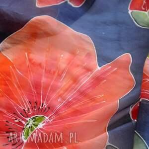 makowy szal szaliki czerwone jedwabny malowany - maki na