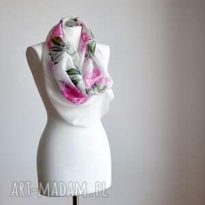 jedwab szaliki różowe jedwabny malowany szal - piwonie