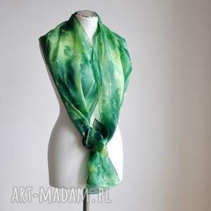 intrygujące szaliki szalik jedwabny malowany szal - zielona