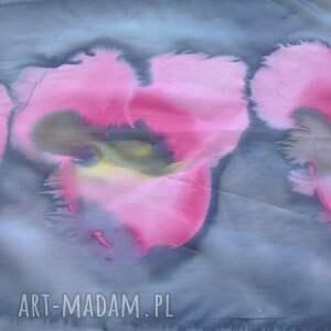 niebieskie szaliki szal jedwabny malowany - różowe