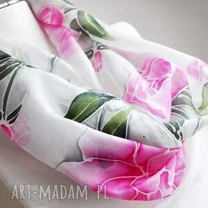 ręcznie-malowany szaliki jedwabny malowany szal - piwonie