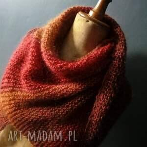 jesienna asymetryczna chusta - hand made szal