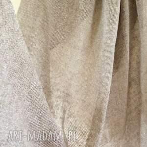szaliki: Klasyczny lniany szal w naturalnym kolorze dzianina