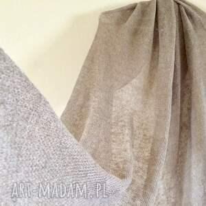szaliki: Klasyczny lniany szal w naturalnym kolorze prezent