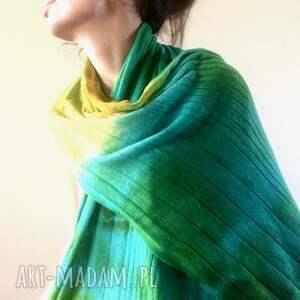 szal zielone kolorowy wełniany