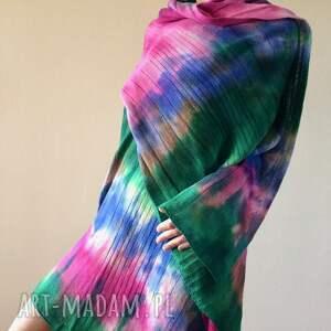 ręcznie zrobione szaliki prezent kolorowy wełniany szal w chłodnych