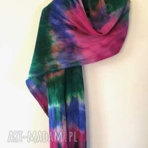 ręcznie zrobione szal kolorowy wełniany w chłodnych