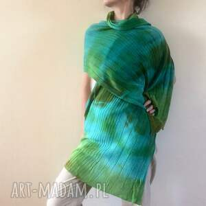 turkusowe szaliki wełna kolorowy wełniany szal