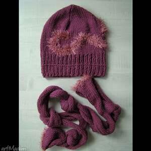 szaliki komplet fioletowy - czapka i szalik