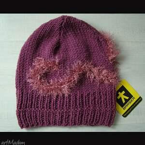 fioletowe szaliki komplet fioletowy - czapka i szalik