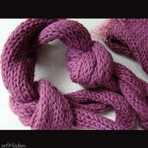 komplet fioletowy - czapka i szalik oryginalnie wiązany