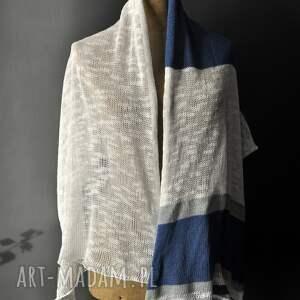 plażowy szaliki letni szal len bawełma