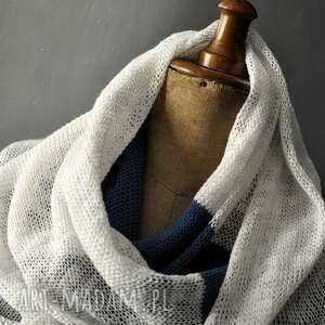 letni szal len bawełma - Hand Made szalik