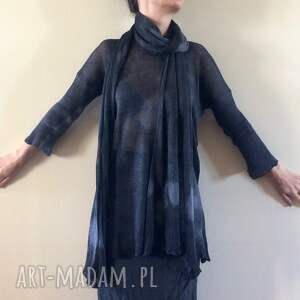 dzianinowy szaliki lniany czarny szal z kapką