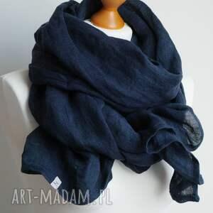szalik szaliki lniany szal chusta w kolorze