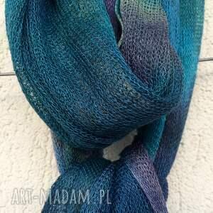 szaliki letni lniany szal w kolorze morskim