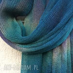 niebieskie szaliki len lniany szal w kolorze morskim