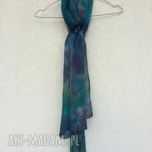 szal szaliki turkusowe lniany w kolorze morskim