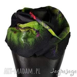 zielone szaliki wełna lotta - szal filcowany na jedwabiu
