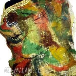 szaliki szal malowany filcem -żółty