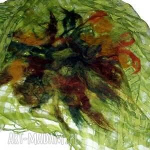 ręcznie zrobione szaliki malowany filcem -zielony