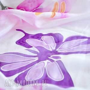 szaliki: Malowany jedwabny szal -lilie i motyle