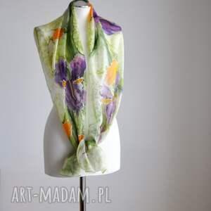 ręcznie malowany szaliki jedwabny szal - irysy