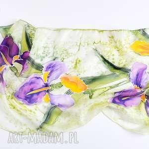fioletowe szaliki kwiatowy szal malowany jedwabny - irysy