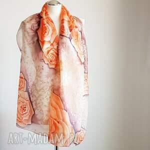 malowany szal szaliki pomarańczowe jedwabny