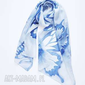 szaliki: Malowany jedwabny szal -niebieskie motyle - ręcznie niebieskiemotyle