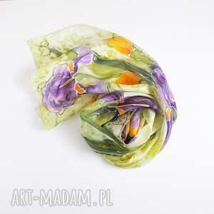ręcznie zrobione szaliki malowany jedwabny szal - irysy