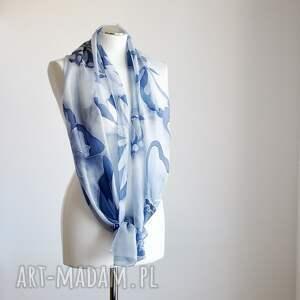 szaliki niebieskiemotyle malowany jedwabny szal -niebieskie