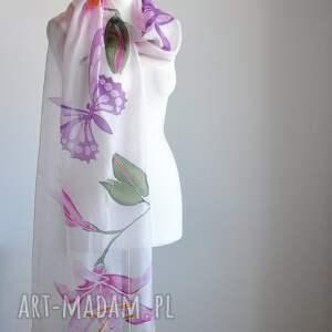 awangardowe szaliki szalik malowany jedwabny szal -lilie