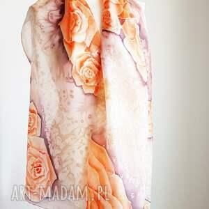 szaliki kwiatowy szal malowany jedwabny