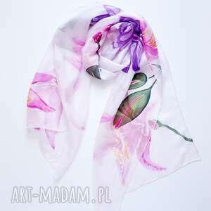 szalik szaliki malowany jedwabny szal -lilie