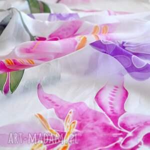 szaliki szalik malowany jedwabny szal -lilie