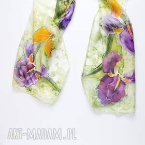 ręcznie zrobione szaliki szal w-irysy malowany jedwabny - irysy