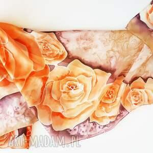beżowe szaliki szal w-róże malowany jedwabny