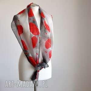 szare szaliki jedwabny szal malowany - czerwone maki na
