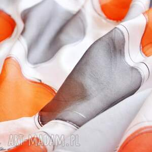 ręcznie zrobione szaliki jedwabny szal malowany pomarańczowe i szare