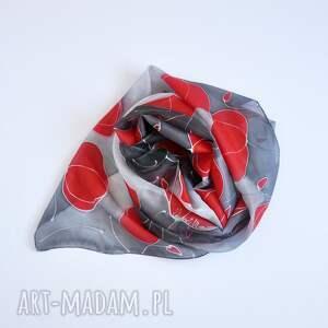 ręcznie robione szaliki makowy szal malowany - czerwone maki na
