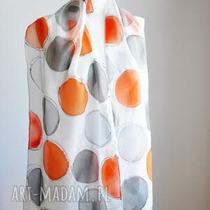 jedwabny szal szaliki pomarańczowe malowany i szare